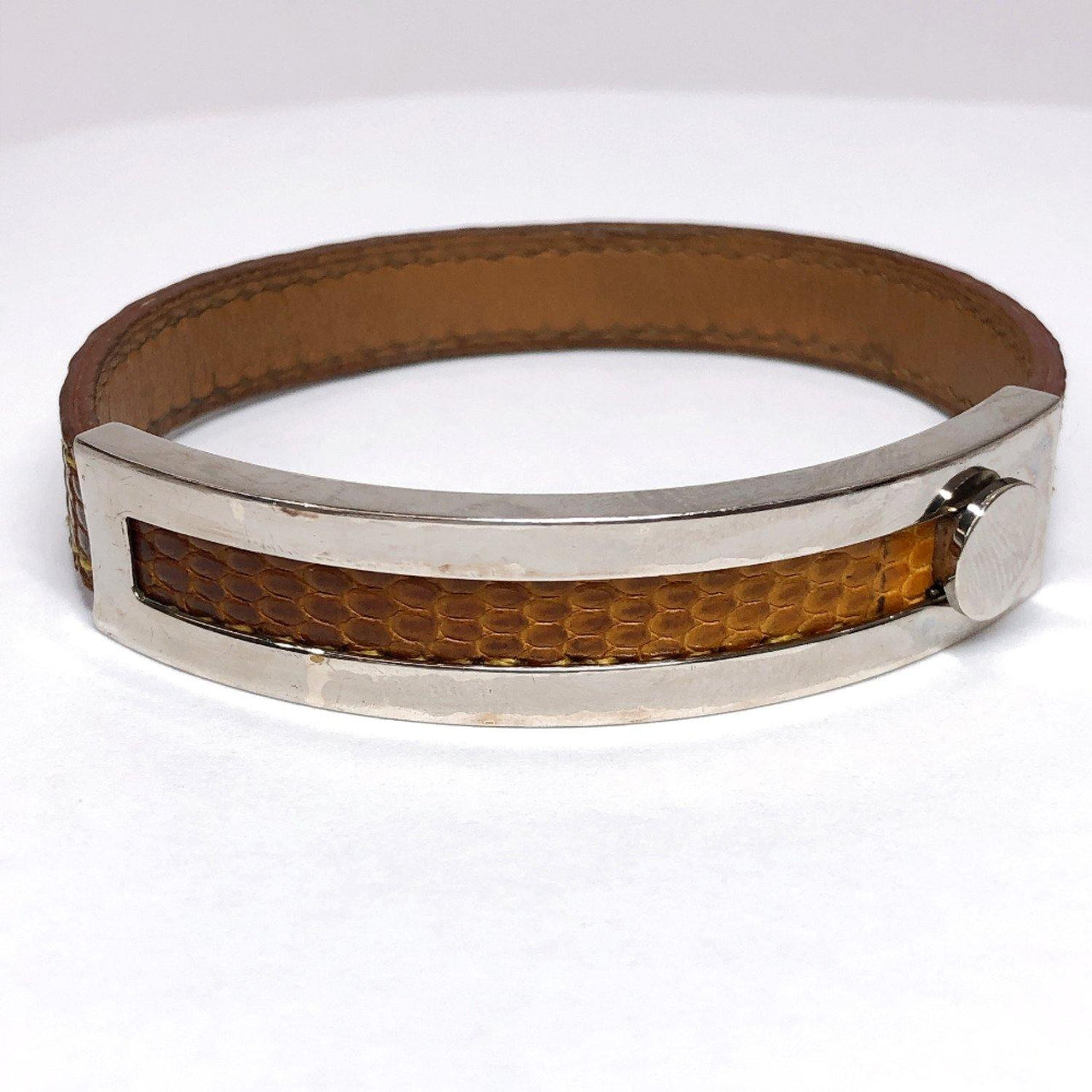 HERMES bracelet Lizard breath Lizard Brown □GCarved seal unisex Used - JP-BRANDS.com