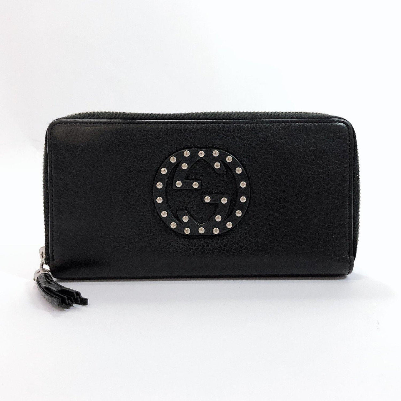 GUCCI purse 308004 Soho Zip Around Interlocking G studs leather black SilverHardware Women Used - JP-BRANDS.com