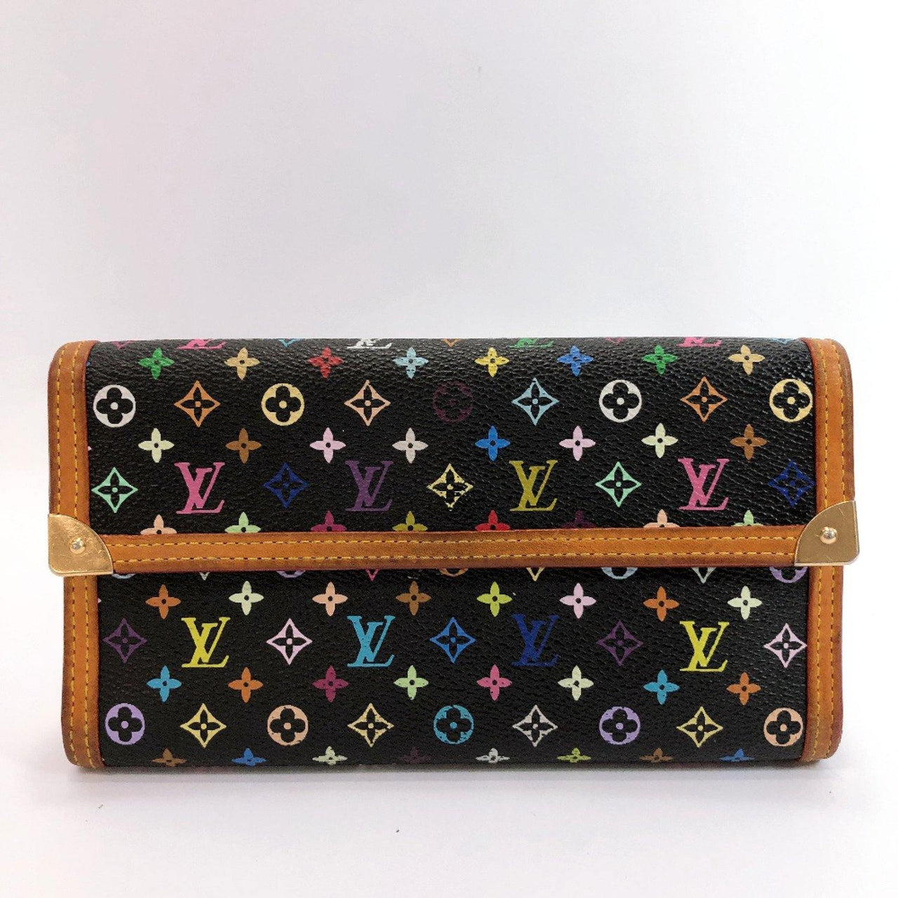 LOUIS VUITTON Tri-fold wallet M92658 Porte Tresor International Monogram multicolor black Multi Women Used - JP-BRANDS.com