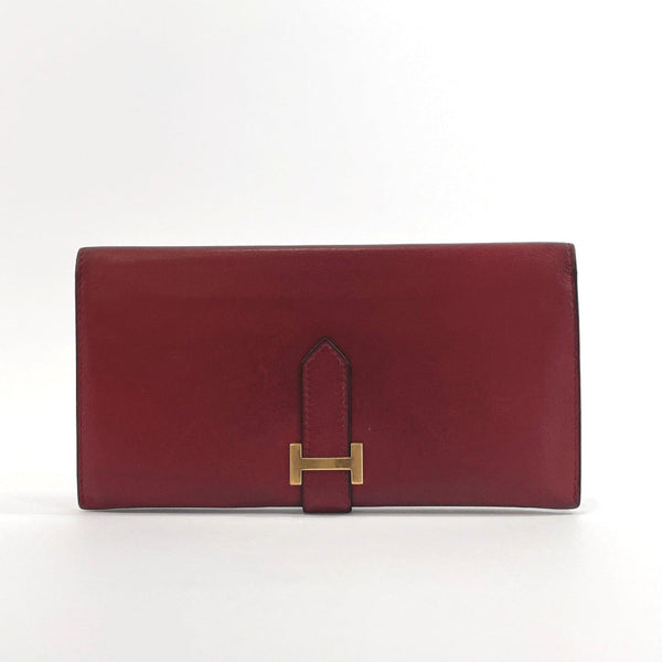 HERMES purse Bean classic Box calf Bordeaux 〇XCarved seal Women Used