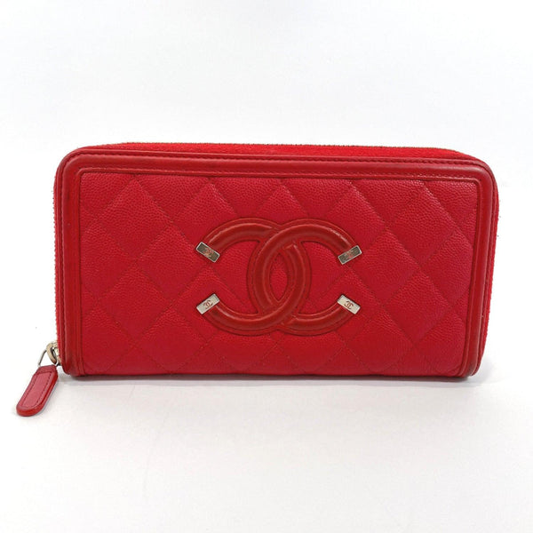 CHANEL purse A84449 Zip Around CC filigree Matt caviar skin/leather Red Gold Hardware Women Used