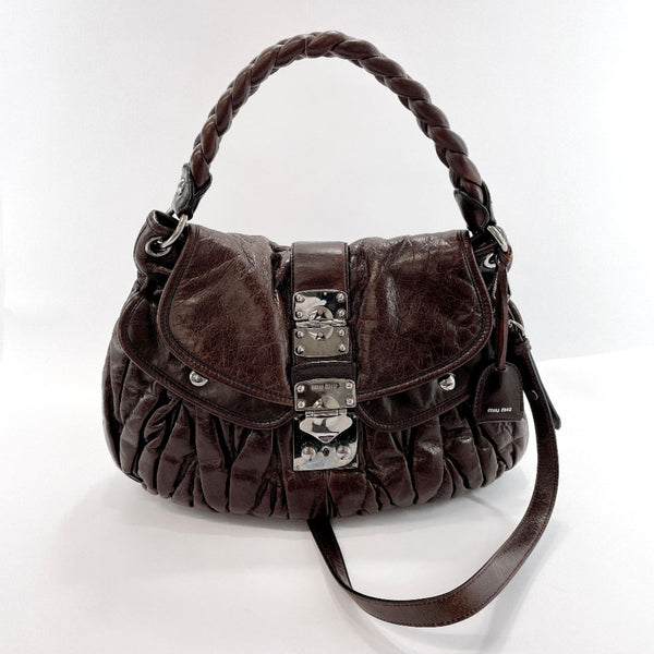 MIUMIU Shoulder Bag Materasse 2WAY leather/SilverHardware Brown Women Used