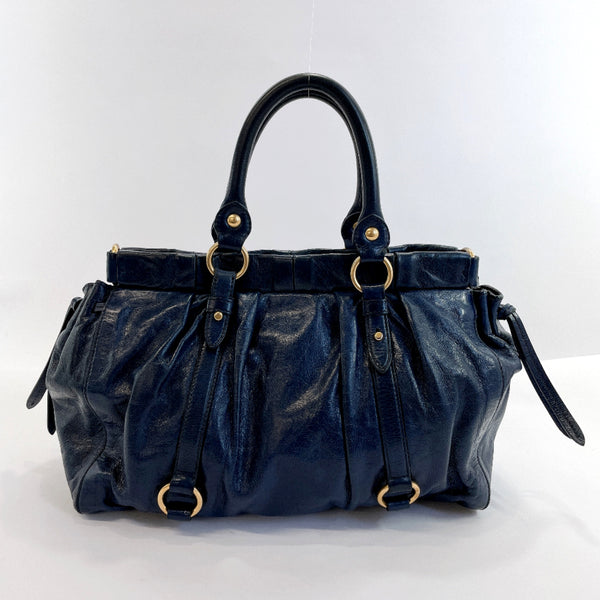 MIUMIU Handbag RT0383 2WAY leather Navy Women Used