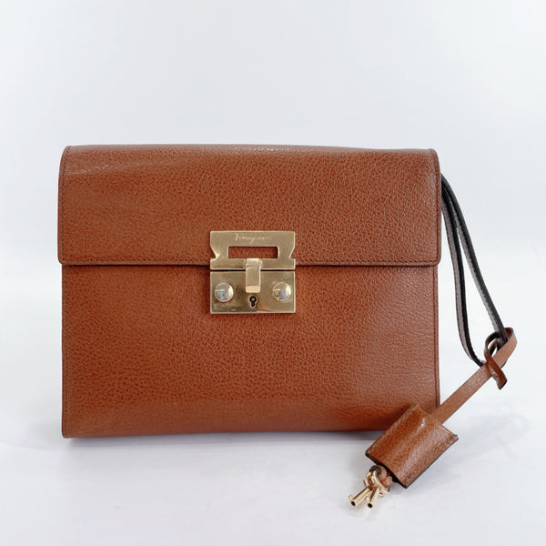Salvatore Ferragamo Clutch bag 24 9226 vintage leather Brown mens Used