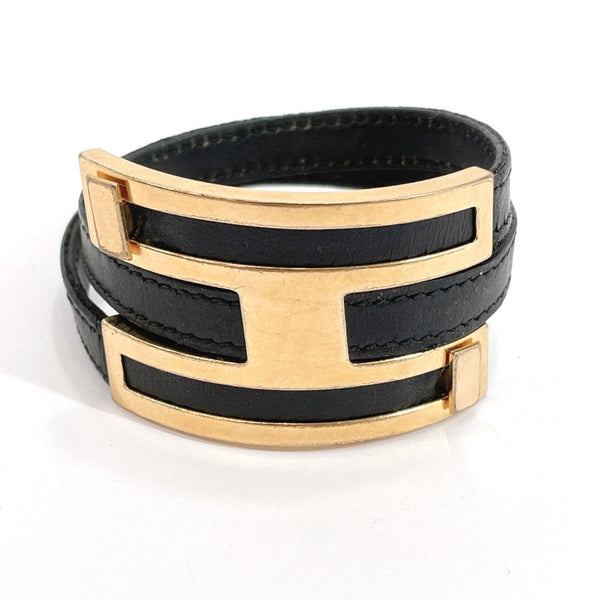 HERMES bracelet Puss Puss W double leather/metal black gold Blur Women Used