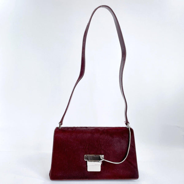 GUCCI Shoulder Bag vintage Harako/leather wine-red SilverHardware Women Used