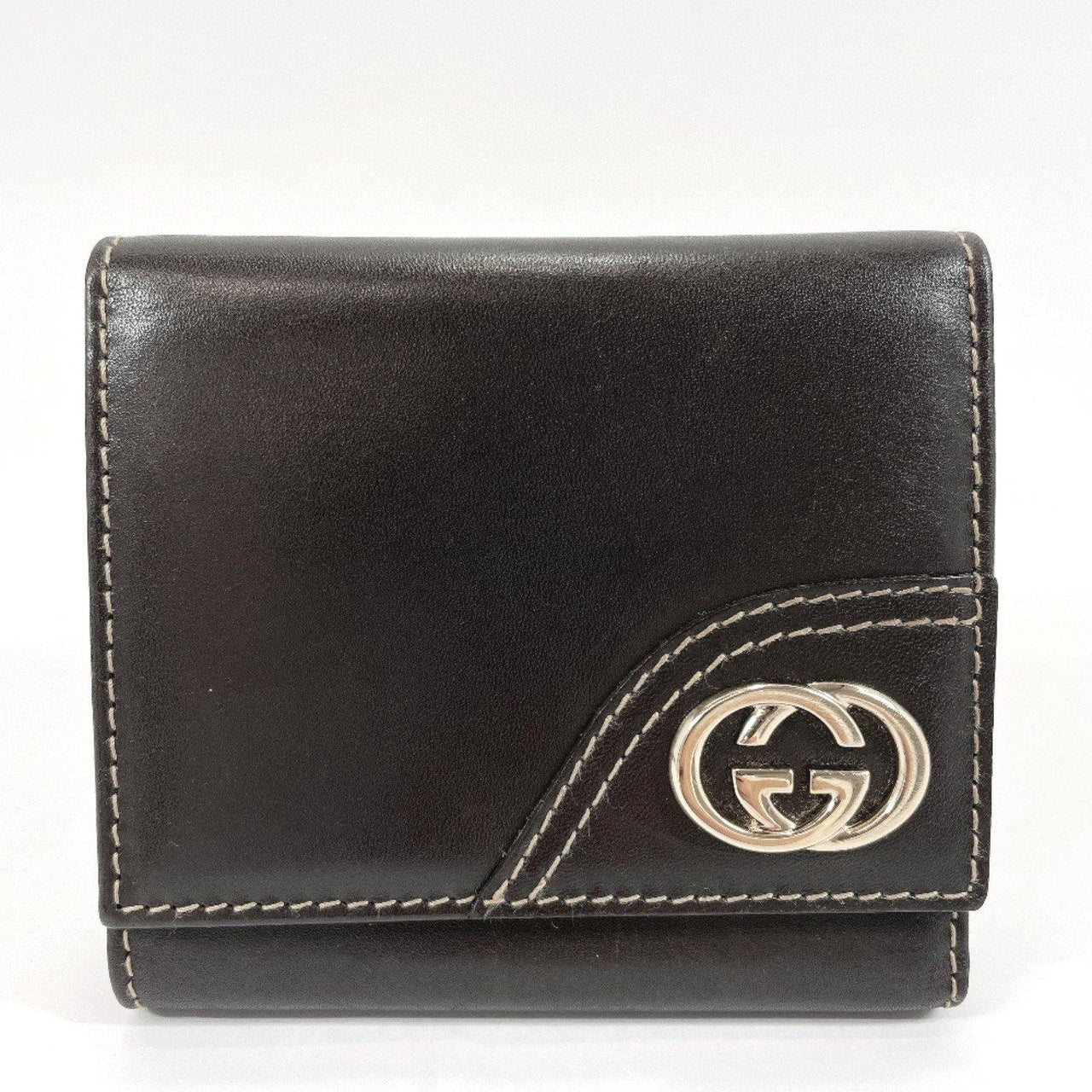 GUCCI Tri-fold wallet 181597 leather Dark brown unisex Used - JP-BRANDS.com