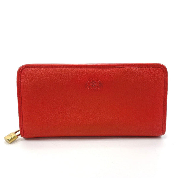 LOEWE purse Round zip leather Red Women Used