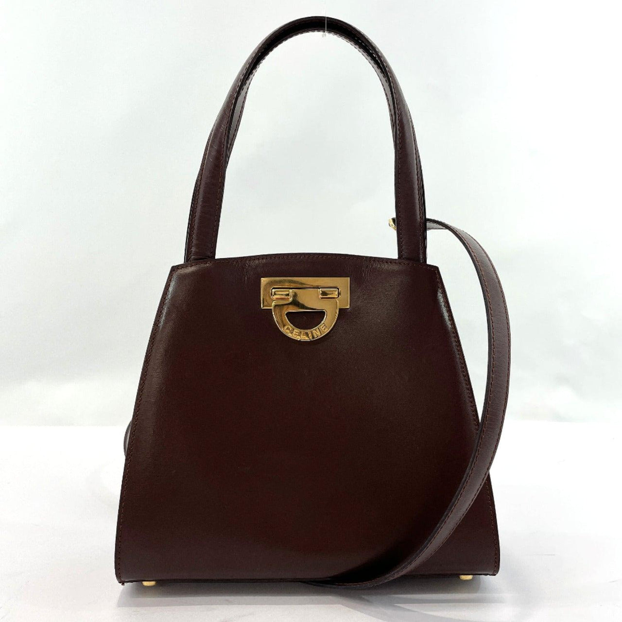 CELINE Handbag F/03 2WAY Vintage leather Brown Women Used