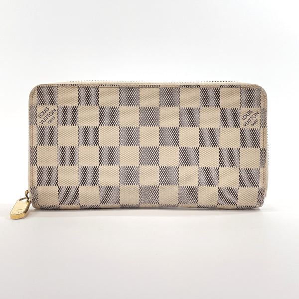 LOUIS VUITTON purse N60019 Zippy wallet Damier Azur Canvas white unisex Used