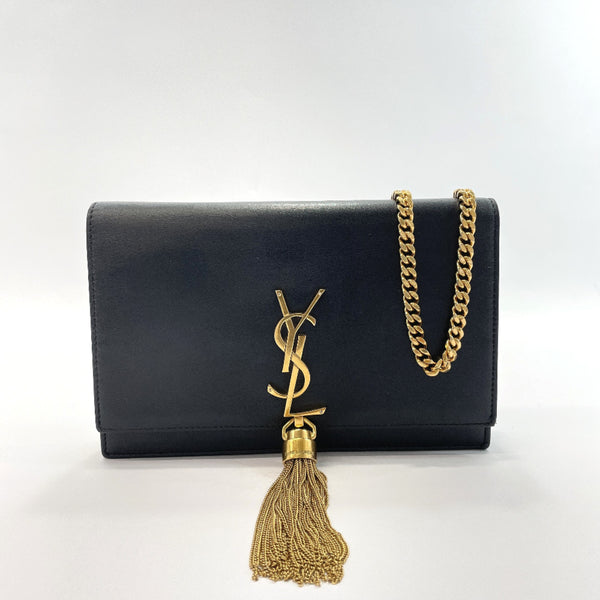 SAINT LAURENT PARIS Shoulder Bag 452159 C150J 1000 Classic Kate Monogram Tassel Chain Wallet leather black Gold Hardware Women Used