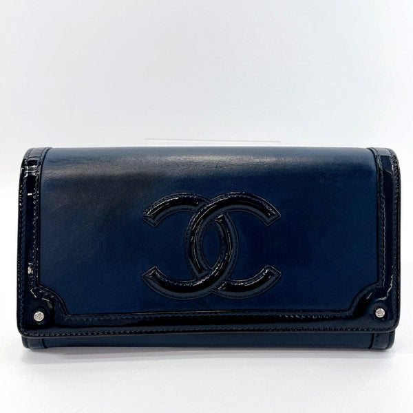 CHANEL purse COCO Mark lambskin/Patent leather Navy Women Used