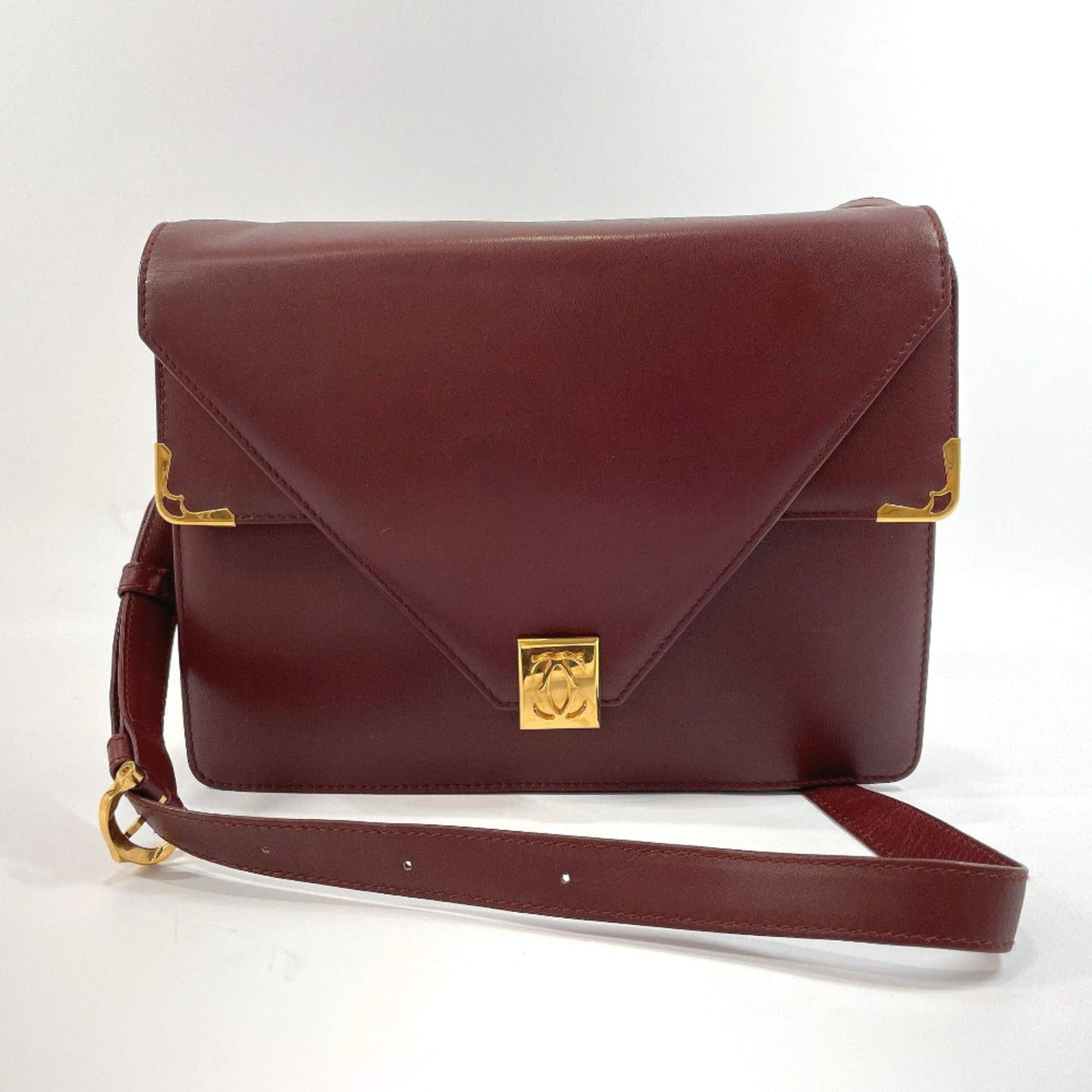 CARTIER Shoulder Bag Must Line vintage leather Bordeaux Gold Hardware Women Used