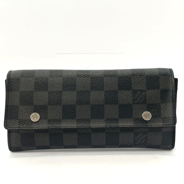 LOUIS VUITTON purse N63084 Portefeiulle Ron Modular Damier Grafitto Canvas Black mens Used