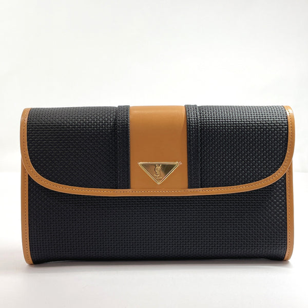 YVES SAINT LAURENT Clutch bag Licensed product PVC/leather black Brown mens New