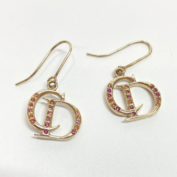 Christian Dior earring Rhinestone metal gold pink Women Used