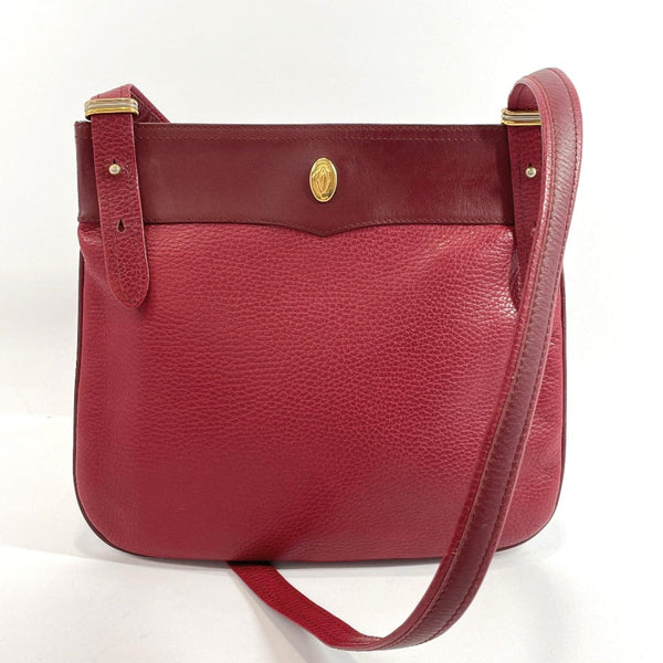 CARTIER Shoulder Bag Must Line vintage leather Bordeaux Women Used