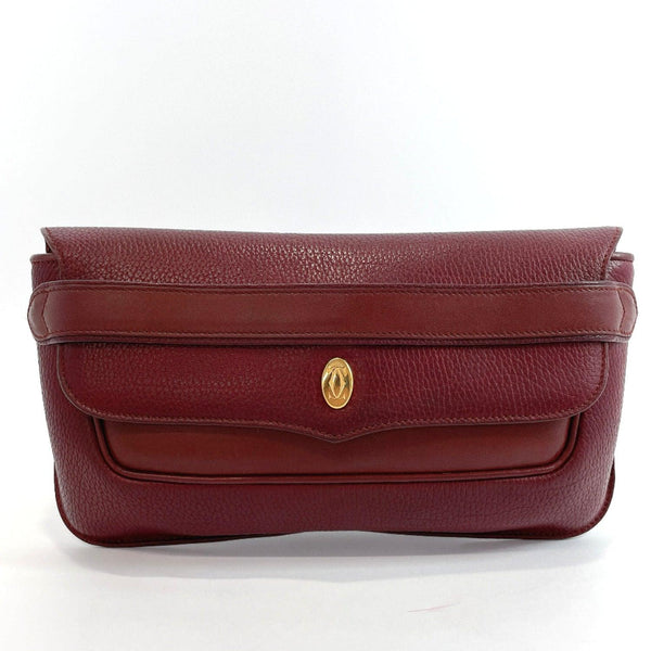 CARTIER Clutch bag vintage Must Line leather/Gold Hardware Bordeaux Women Used