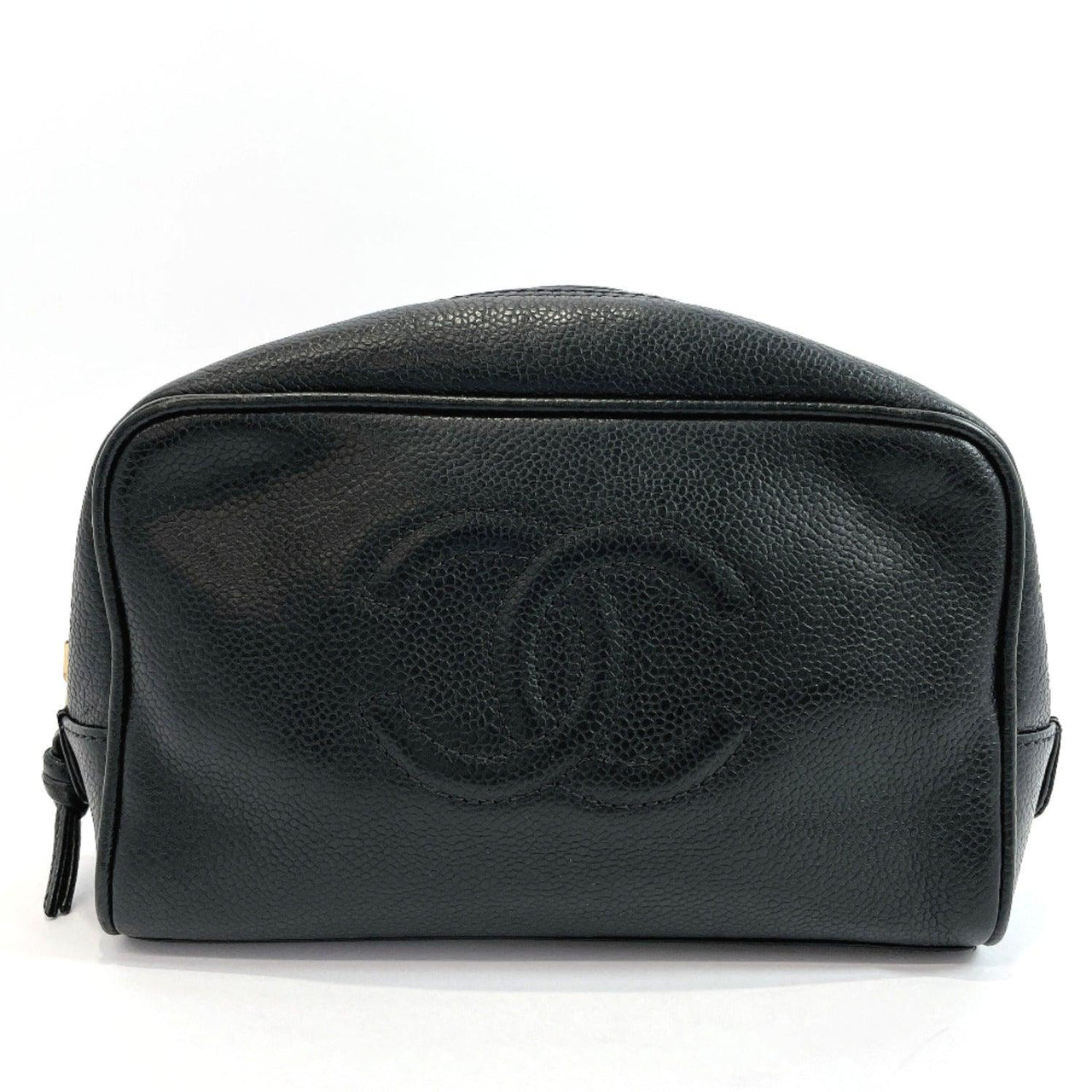 CHANEL Pouch Cosmetics Pouch COCO Mark Matt caviar skin black Gold Hardware Women Used