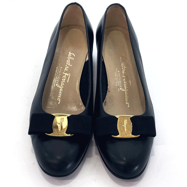 Salvatore Ferragamo pumps DG04933 Vala Ribbon leather Black Women Used