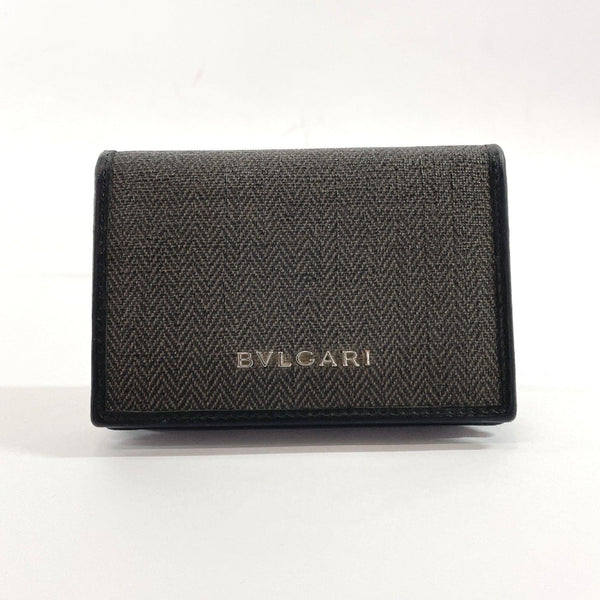 BVLGARI Card Case 32'588 name card holder Weekend PVC/leather khaki black mens Used