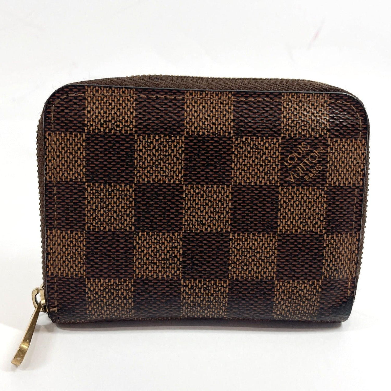 LOUIS VUITTON coin purse N63070 Zippy coin purse Damier canvas Brown unisex Used