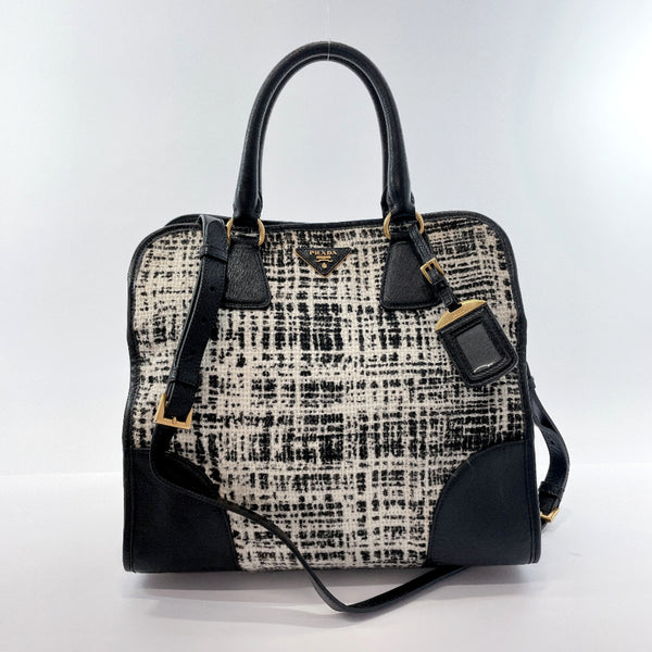 PRADA Tote Bag BN2254 2way Tweed pattern Safiano leather/cotton Black white Women Used