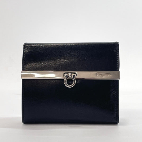 Salvatore Ferragamo Tri-fold wallet AQ-229582 Gancini vintage leather Black Women Used