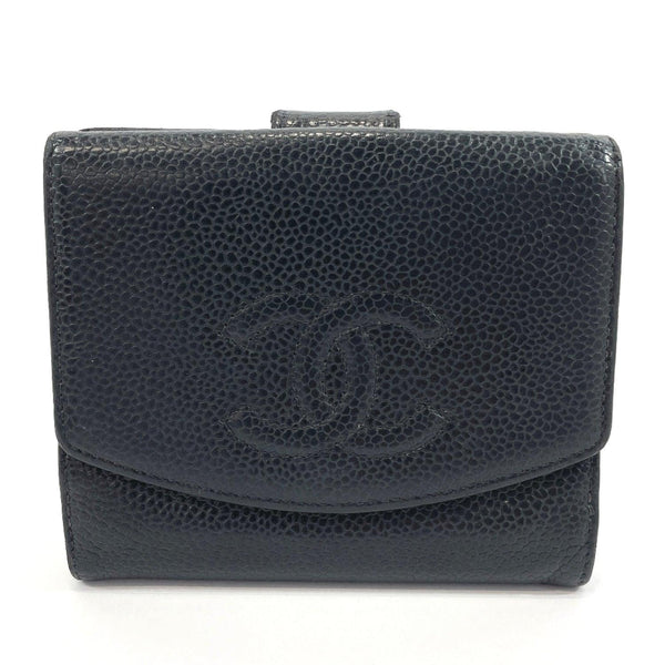 CHANEL wallet COCO Mark Matt caviar skin Black Women Used