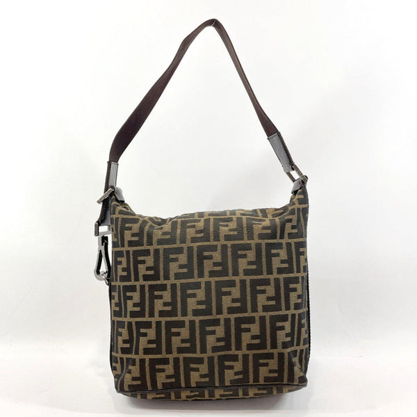 FENDI Shoulder Bag Zucca pattern canvas/leather Brown Women Used