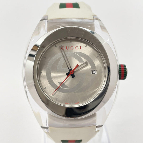GUCCI Watches 137.1 Sink quartz Sherry line Stainless Steel/rubber white Red unisex Used