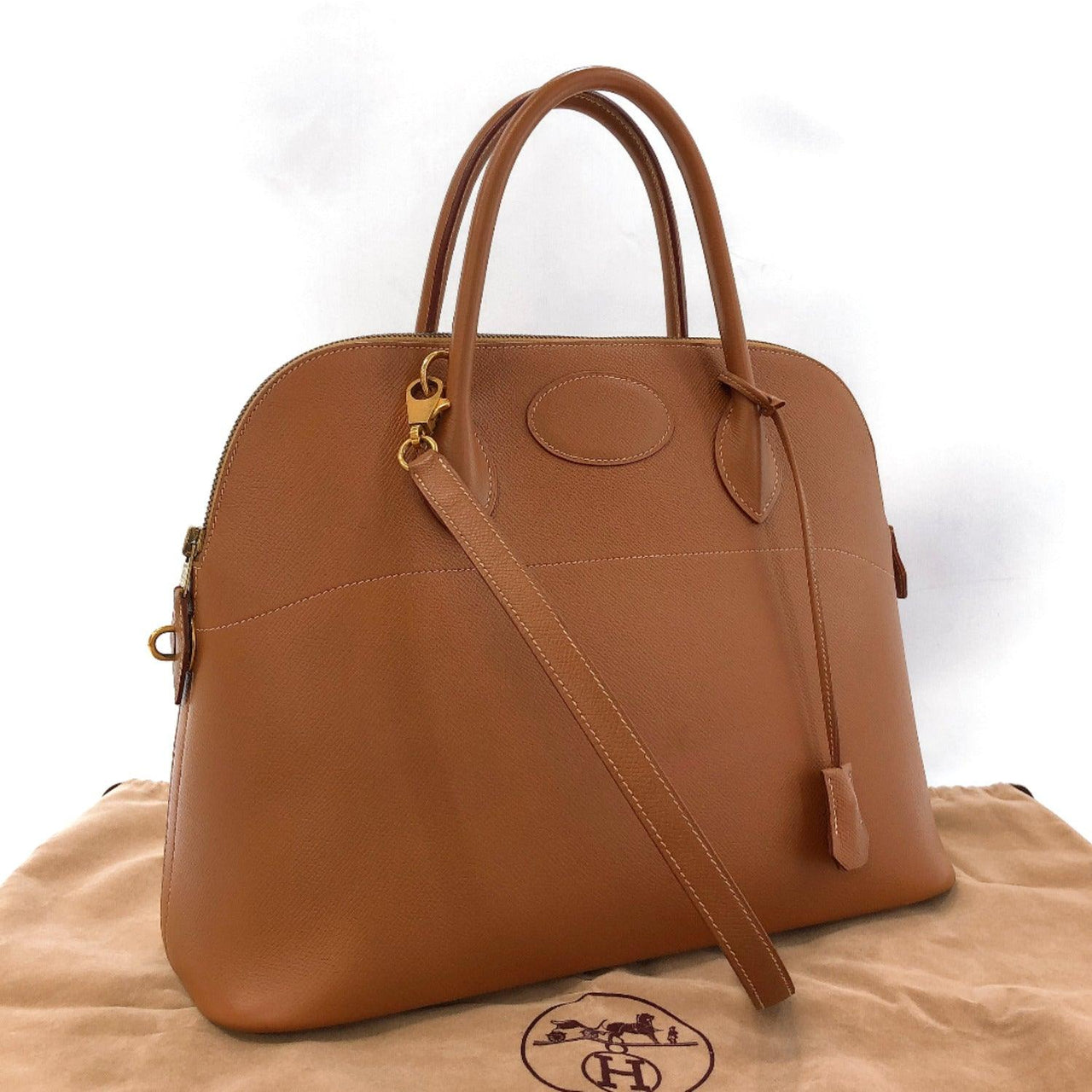 HERMES Handbag Bolide35 Courchevel Brown 〇ZCarved seal Women Used