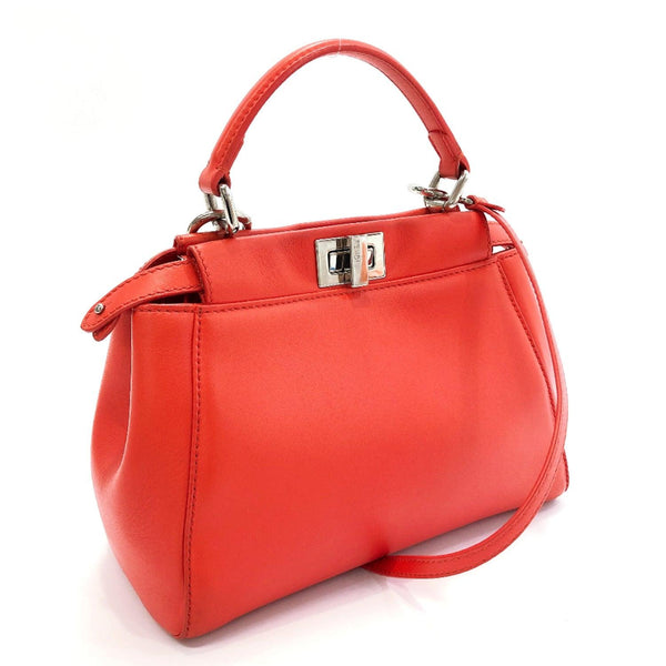 FENDI Handbag 8BN244 Mini Pea Kaboo 2way Calfskin Orange Women Used