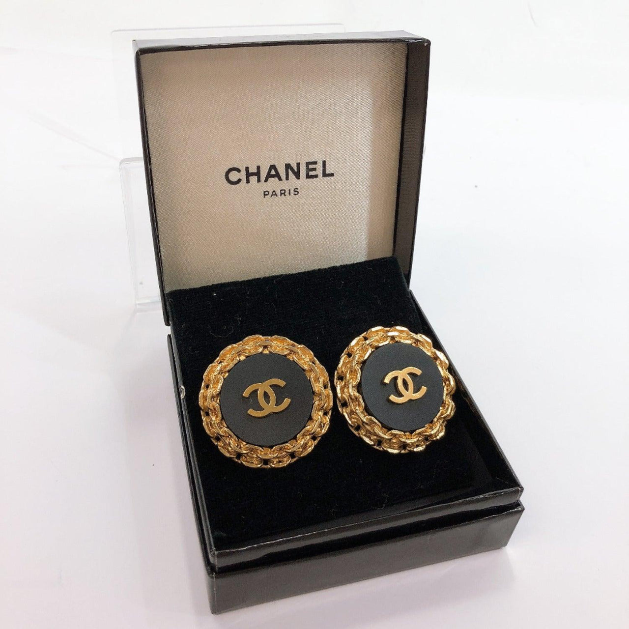 CHANEL Earring COCO Mark vintage metal gold 2 8 Women Used