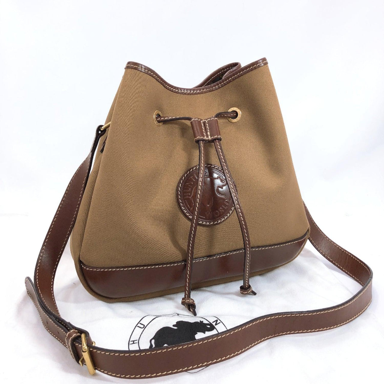 HUNTING WORLD Shoulder Bag drawtring type canvas/leather khaki Brown Women Used