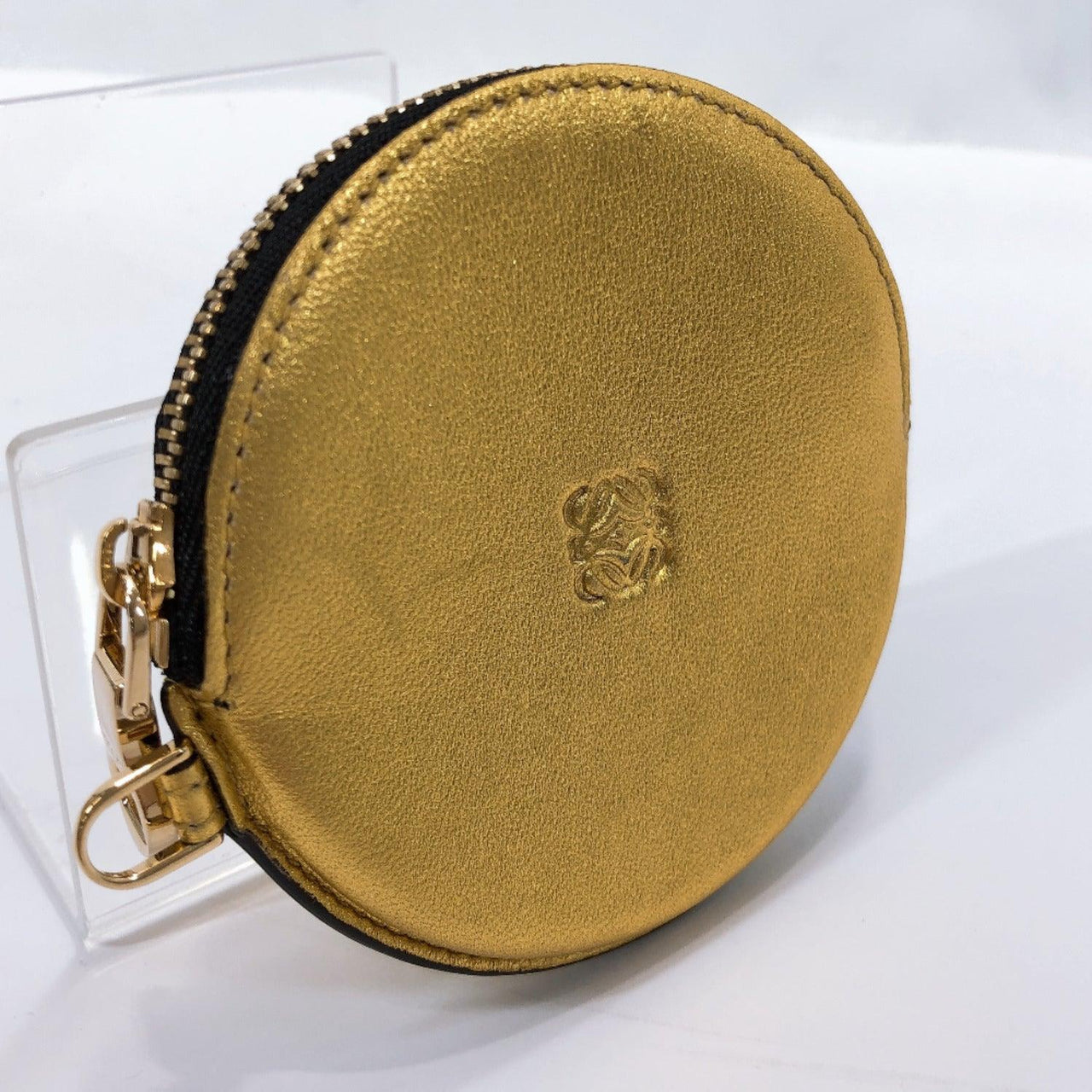 LOEWE coin purse leather gold Women Used