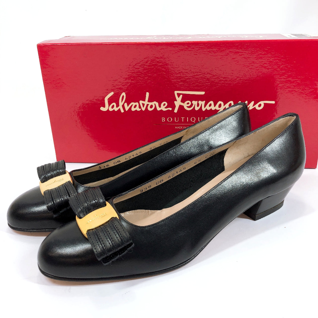 Salvatore Ferragamo pumps Vala leather black Women Used