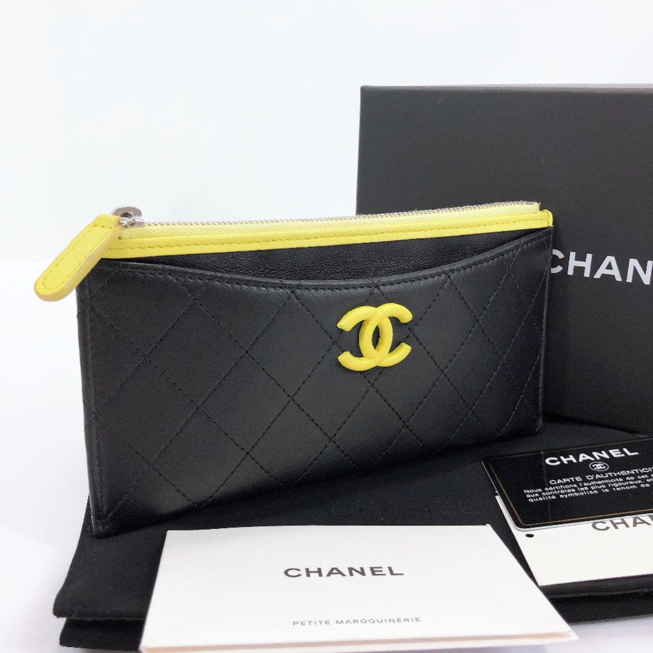 CHANEL purse Matelasse Classic pouch leather black yellow Women Used