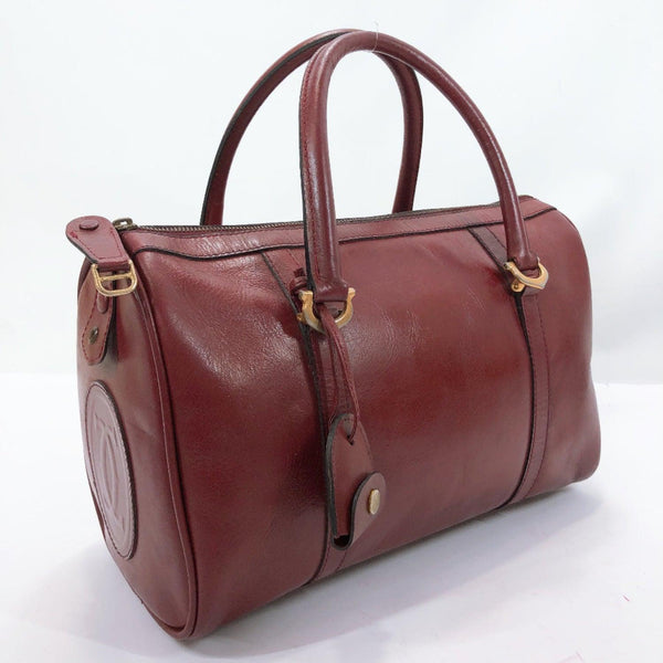 CARTIER Boston bag Mini Boston vintage leather Bordeaux Women Used