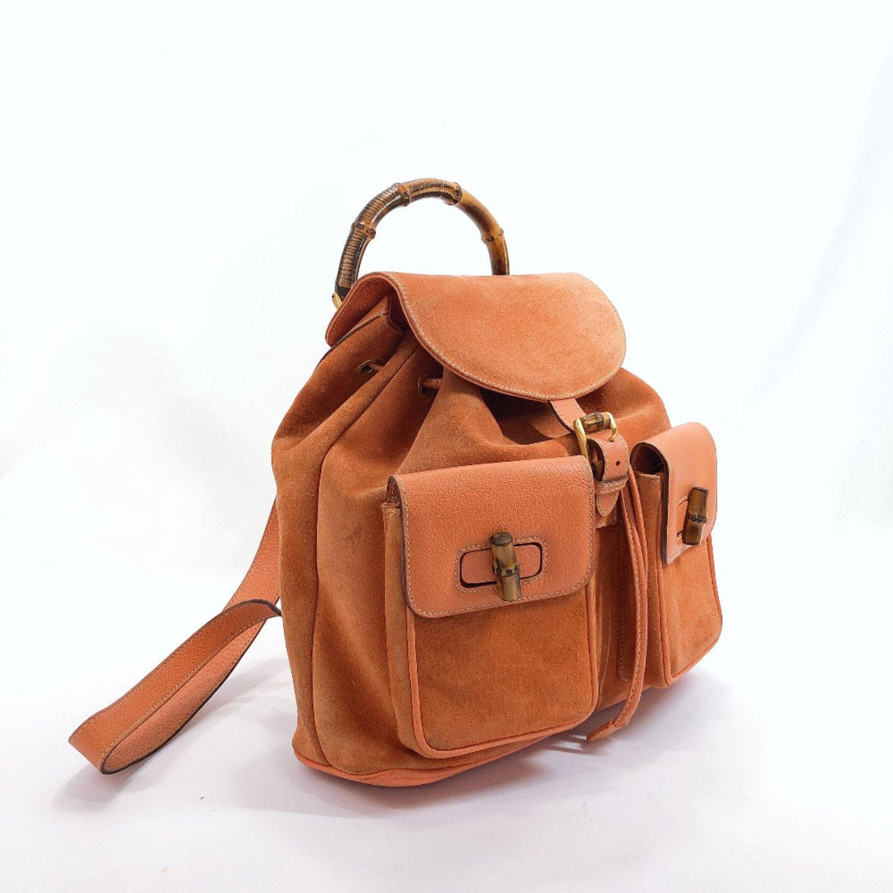 GUCCI Backpack Daypack 003.2058.0016 Bamboo Suede/leather Orange Women Used - JP-BRANDS.com