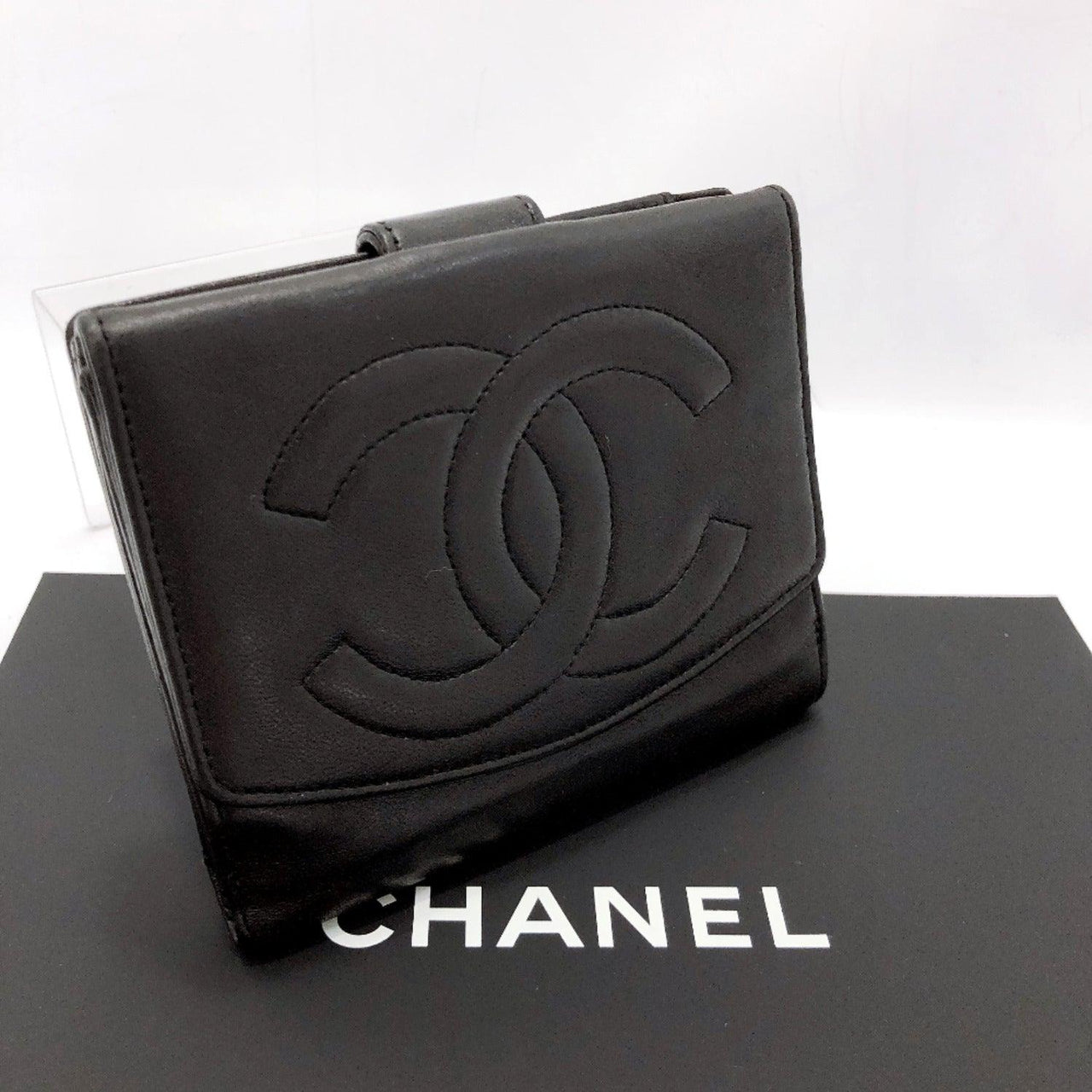 CHANEL wallet COCO Mark leather black Women Used