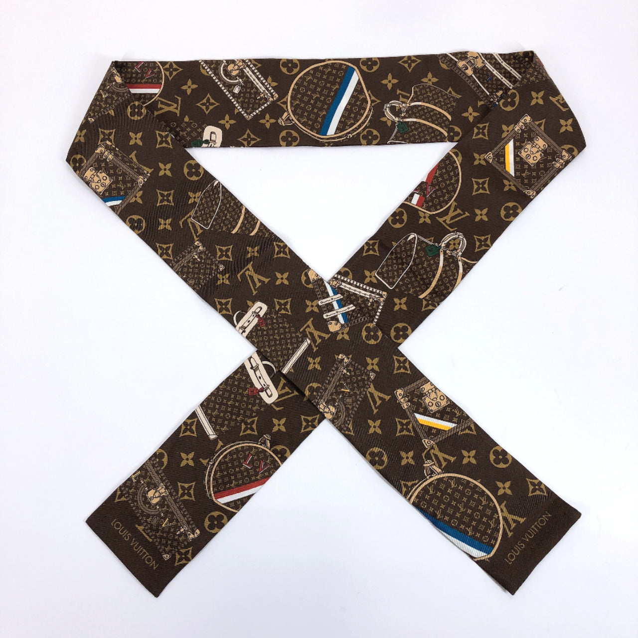 LOUIS VUITTON scarf M72395 Twilly Bandoo Monogram pattern silk Brown Women Used