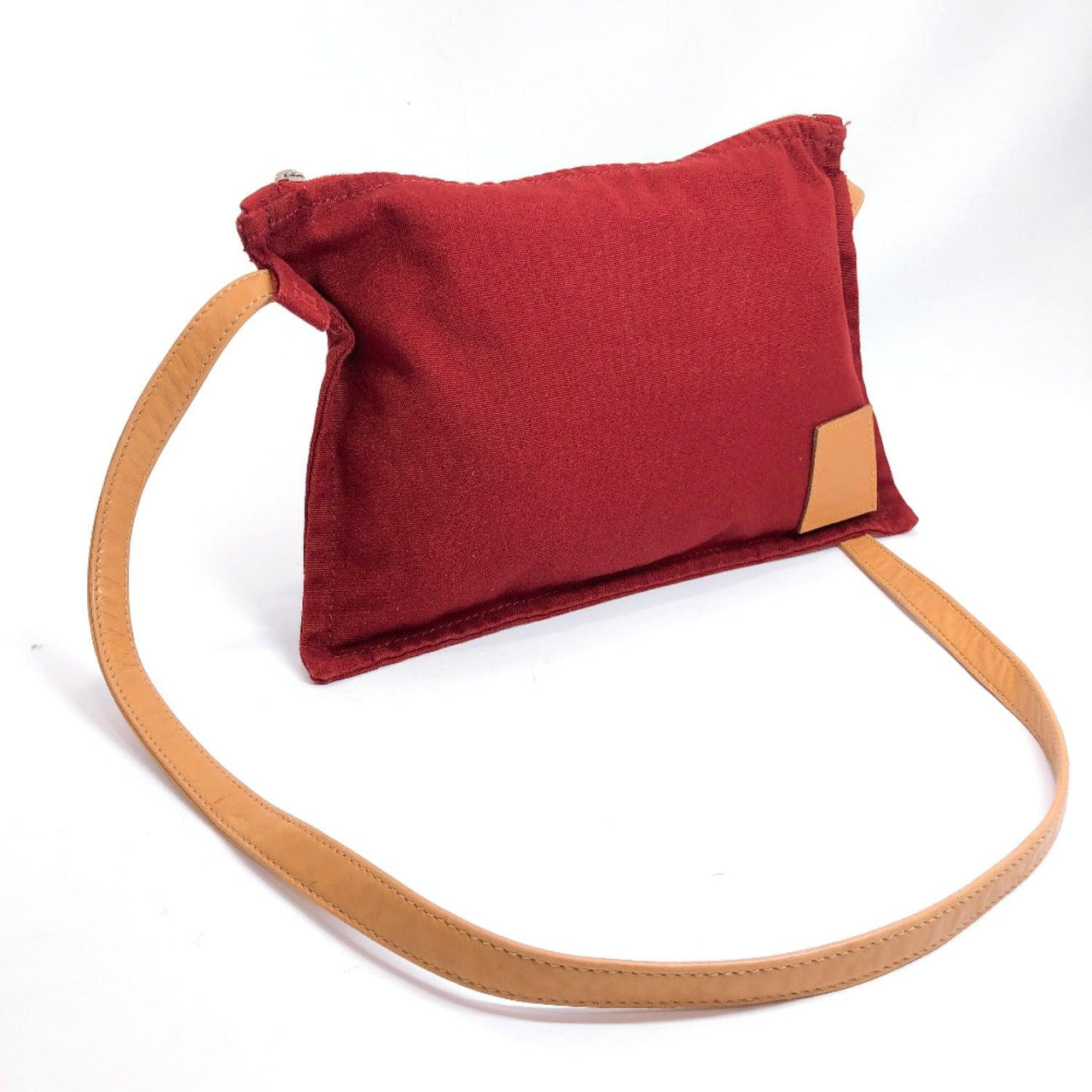 HERMES Shoulder Bag Cotton canvas/leather Red Women Used