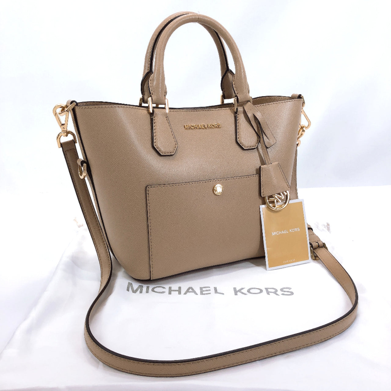 Michael Kors Shoulder Bag 2way leather beige Women Used
