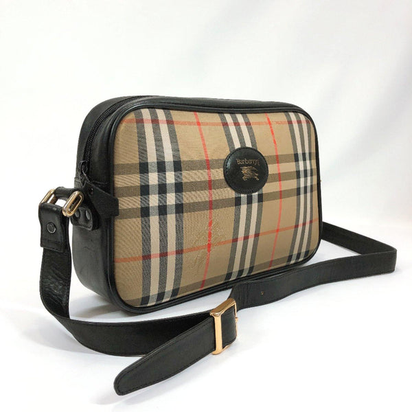 BURBERRY Shoulder Bag Vintage check leather black beige Women Used
