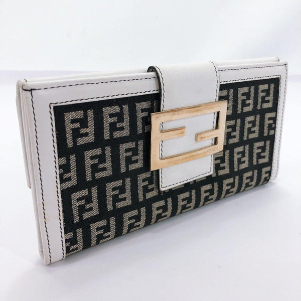 FENDI purse Zucca pattern canvas/leather white black Women Used