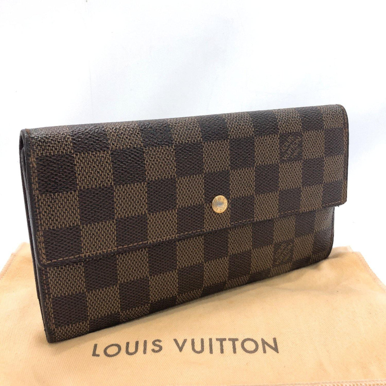 LOUIS VUITTON purse N61217 Portfoy International Damier canvas Brown unisex Used
