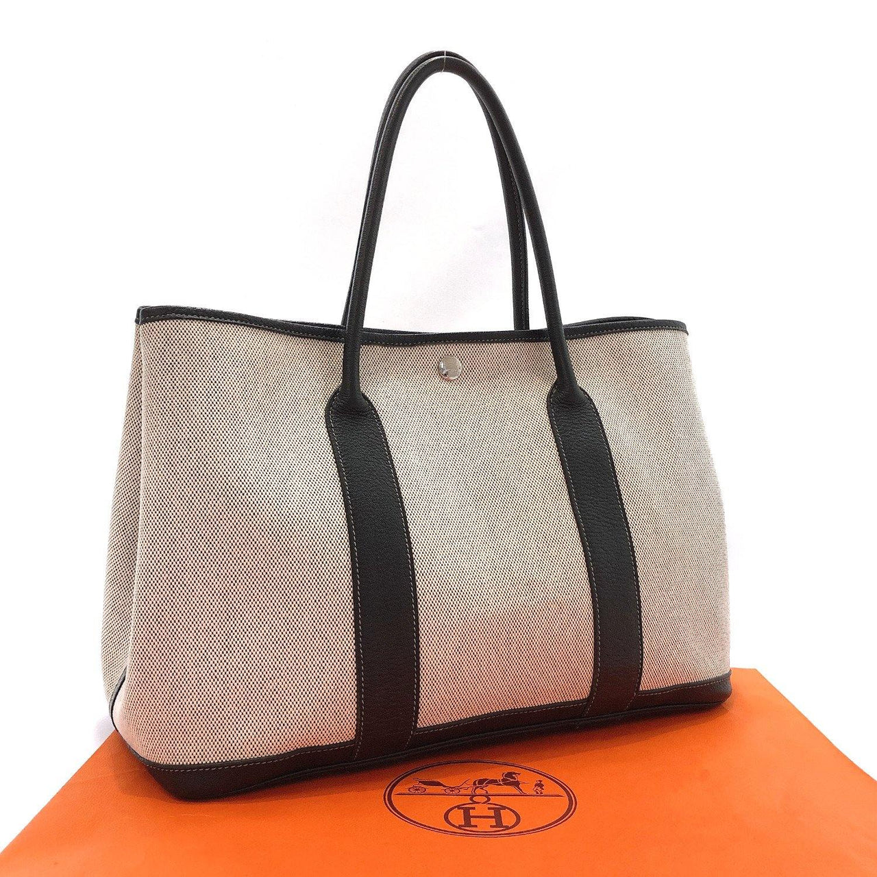 HERMES Handbag Garden party PM Tower ash gray black □J Women Used - JP-BRANDS.com