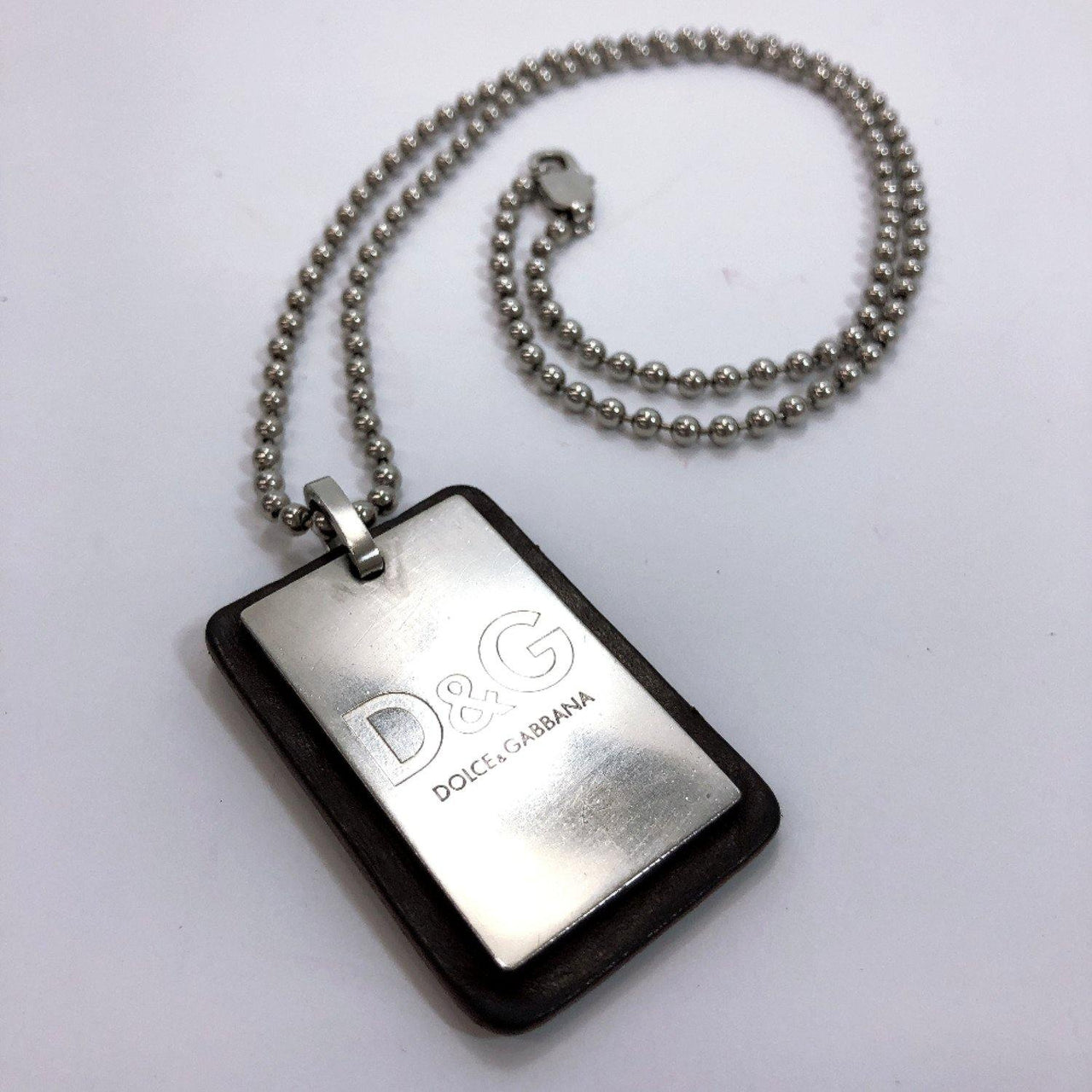 DOLCE&GABBANA Necklace metal Silver black mens Used - JP-BRANDS.com
