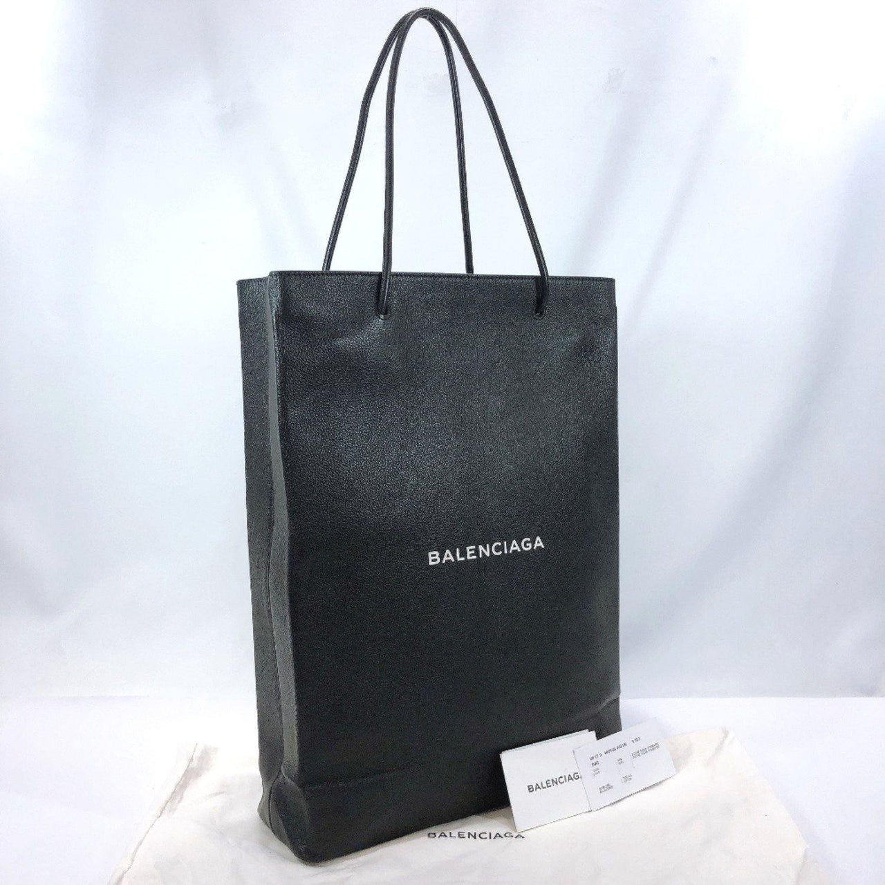 BALENCIAGA Tote Bag 482545 North south shopping bags leather black unisex Used